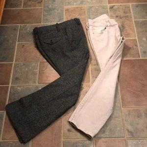 LOFT Pants - 2P Loft tweed pants; Sz 2 Loft Capri jeans 2 for 1